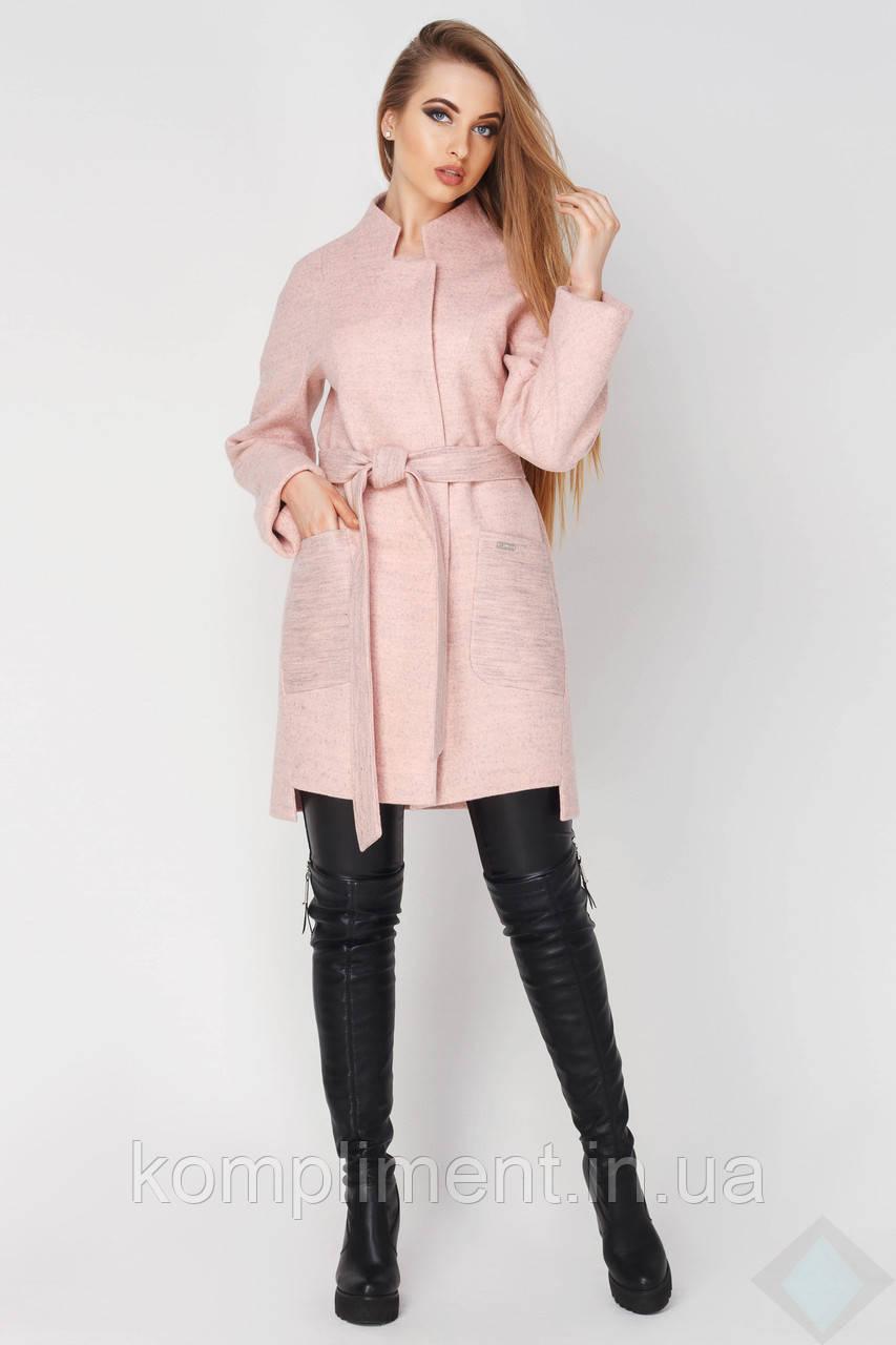Демисезонное женское пальто из полушерсти Бельгия, персик