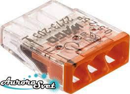 Экспресс-клемма WAGO 2273-203. Для однопроволочных медных  проводников, 0,5 - 2,5 мм.кв.,3 пров.