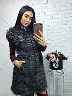 Женская удлиненная жилетка из искусственного меха в расцветках 39ZH3, фото 1