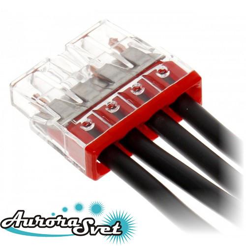 Экспресс-клемма WAGO 2273-204. Для однопроволочных медных  проводников, 0,5 - 2,5 мм.кв.,4 пров.
