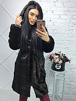 Женская шуба из искусственного меха метровая с капюшоном (цвет махагон) 39SU8