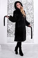 Женская шуба из искусственной норки с капюшоном 100 см длиной (Размеры 42-56) h-39SU80