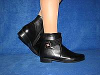 Демисезонные черные ботинки на змейке большого размера стелька 25,5 см