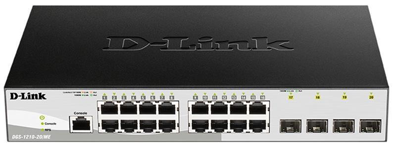 Коммутатор D-Link DGS-1210-20/ME/B 16x1GE, 4xSFP, WebSmart