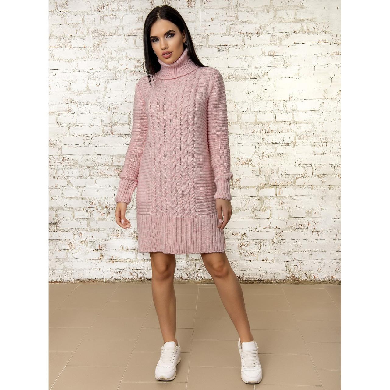 Теплое вязаное платье с горлом до колена 46-48 размер
