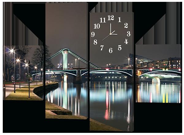 Модульная картина с часами Светящийся ночью мост