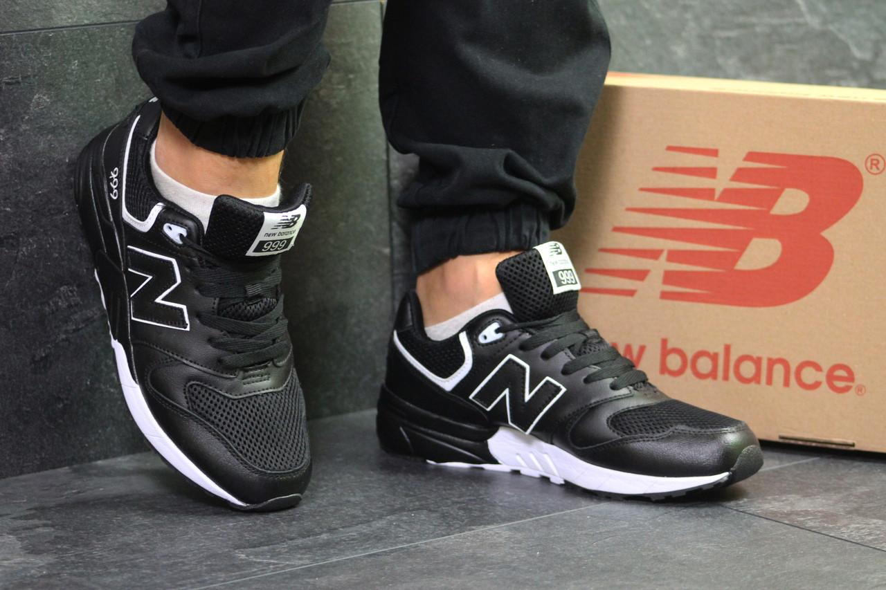 Кроссовки мужские New Balance 999  спортивные осенние на шнурках из кожи (черные), ТОП-реплика