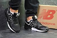 Кроссовки мужские New Balance 999  спортивные осенние на шнурках из кожи (черные), ТОП-реплика, фото 1