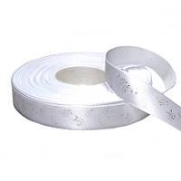 Сатиновая лента (15 мм) серебряные розочки