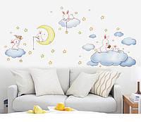 """Виниловая наклейка на стену """"Кролики на облаках"""""""