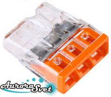 Экспресс-клемма WAGO 2273-243.Наполнена пастой. Для медных проводников, 0,5 - 2,5 мм.кв.,3 пров.
