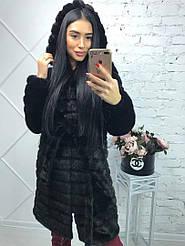 Женская черная шуба под норку полосками метровая (размеры с 42 по 56)39sb209