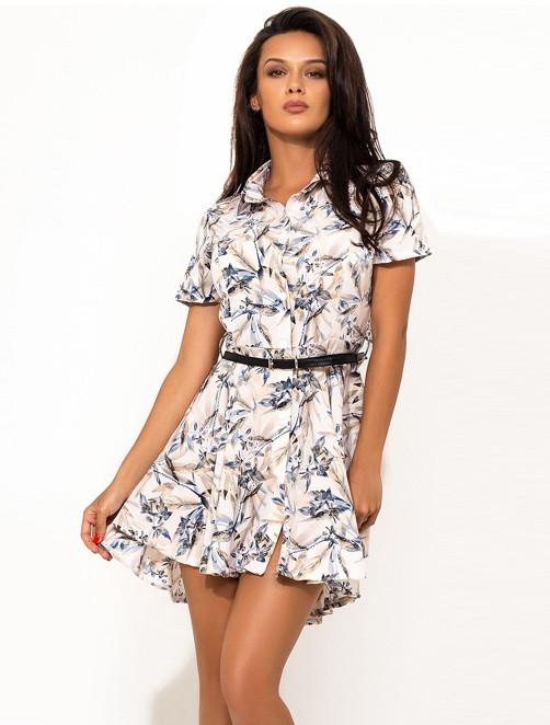 Летнее мини платье с пояском в комплекте Д-1449