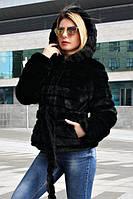 Женский черный полушубок из искусственного меха норка с капюшоном 39sb213
