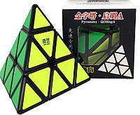 Пирамидка QiYi QiMingA Pyraminx, пираминкс, кубик Рубика, цветные наклейки, черный пластик