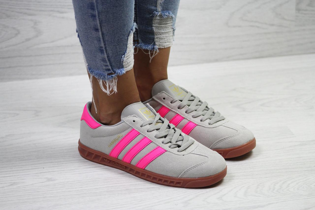 Кеды женские Adidas Hamburg молодежные фирменные качественные популярные (серые), ТОП-реплика