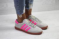 Кеды женские Adidas Hamburg молодежные фирменные качественные популярные (серые), ТОП-реплика, фото 1