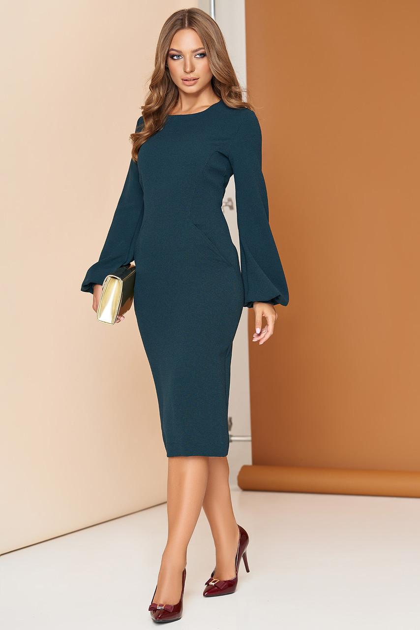 Платье футляр с широким рукавом 44-54р зеленое