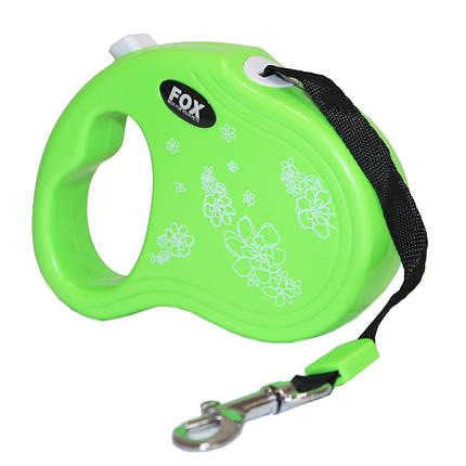 Поводок-рулетка для собак FOX Мини, для мелких и средних пород собак 3 метра, зеленый, фото 2