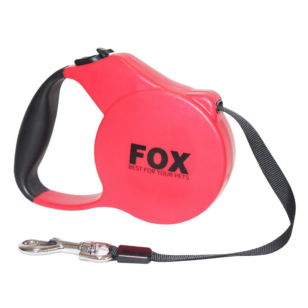 Поводок-рулетка для собак FOX с прорезиненной ручкой 5 метров, красный