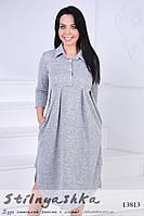 Ангоровое платье для полных Кокон серое, фото 1