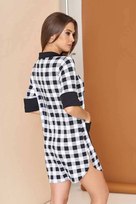 Трикотажное платье рубашка в клетку 44-54р черное, фото 2