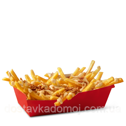 Картошка фри с сырным соусом и луком