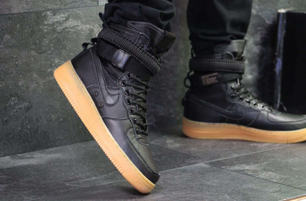 Кроссовки мужские Nike Air Force af 1  осенние кожаные прошиты для повседневной носки (черные), ТОП-реплика