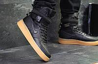 Кроссовки мужские Nike Air Force af 1  осенние кожаные прошиты для повседневной носки (черные), ТОП-реплика, фото 1