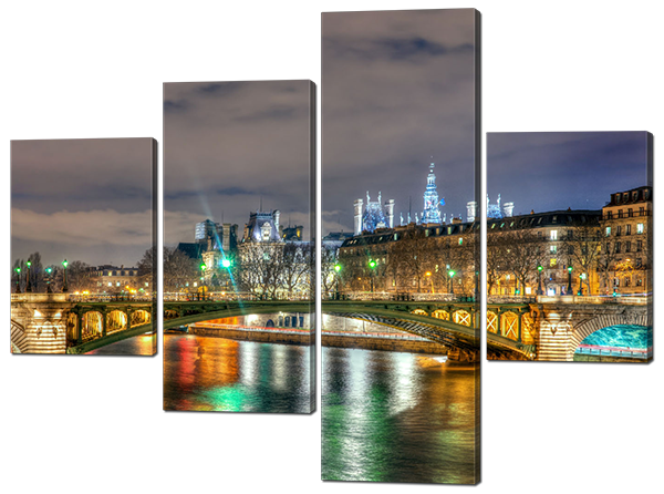 Стильная модульная картина Мост через реку