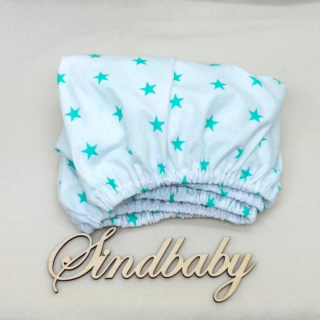 Детская простынь на резинке в кроватку, 60х120см -03