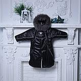Зимний комбинезон-трансформер Снежинка, черный, фото 3