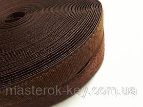 Липучка усиленная для одежды и обуви метражная 2см цвет коричневый