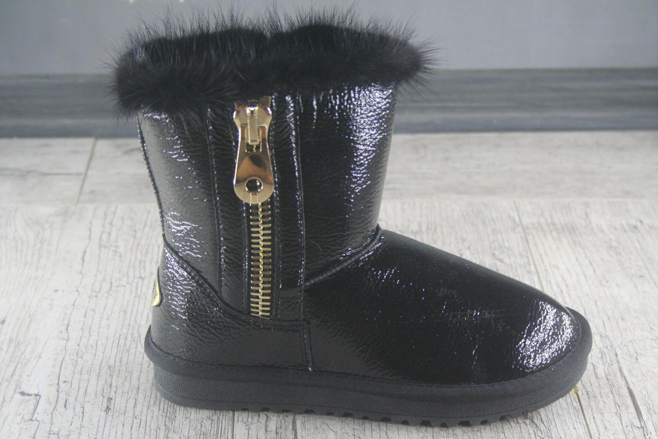 Угги женские натуральный лак Lilin Shoes Modern, обувь зимняя, теплая, повседневная, молния обманка