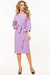 5db760d09a1 Элегантное деловое сиреневое платье миди с поясом и цельнокроеным рукавом