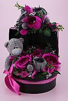 """Букет из конфет в коробке """"Мишка в розах"""""""