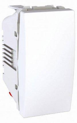 Вимикач кнопковий 1-кл. 1-модуль Unica Білий Schneider Electric, фото 2