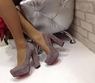 Женские туфли на высоком каблуке из натуральной замши