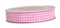 Лента в клеточку розовая (15 мм)