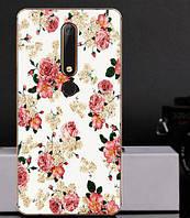 Силиконовый чехол бампер для Nokia 6 2018 с картинкой Розочки