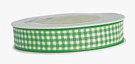 Лента в клеточку зеленая (15 мм) , фото 1