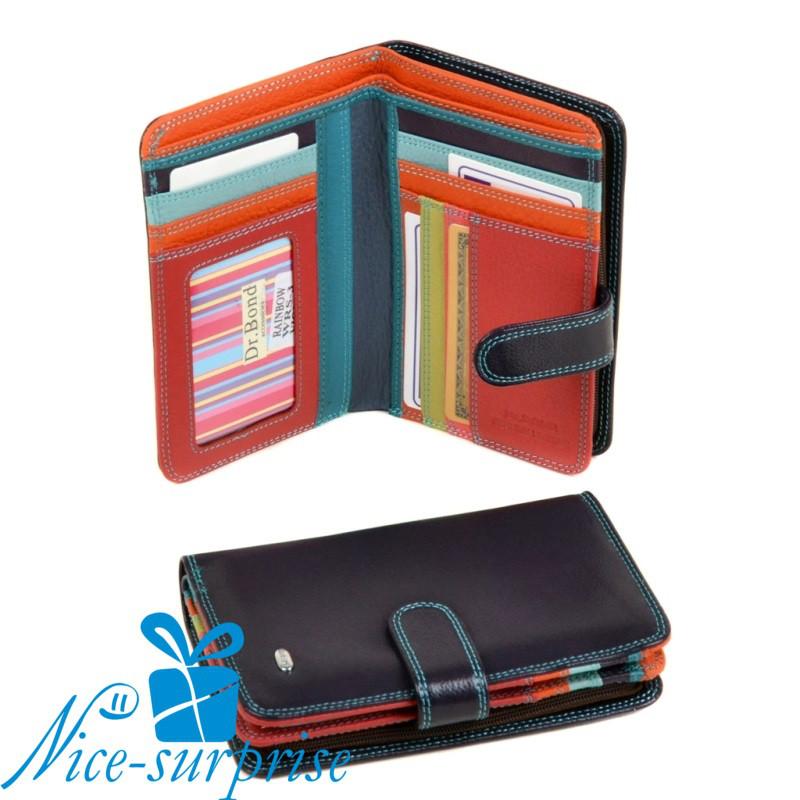 e10751ddebce Женский маленький кожаный кошелёк Dr. Bond WRS-3 violet (серия Rainbow) -