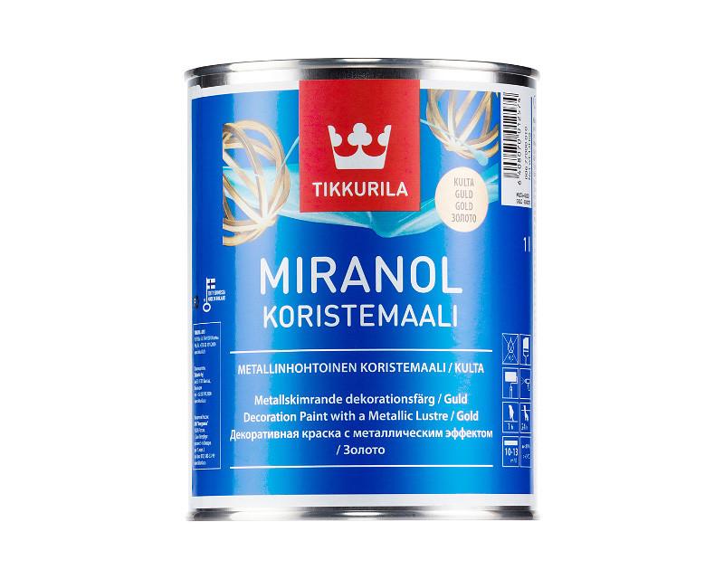 "Краска ""металлик"" TIKKURILA MIRANOL DECOR золотистый 1л"