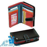 Женский маленький кожаный кошелёк Dr. Bond WRS-3 black (серия Rainbow), фото 1