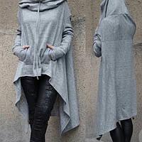 Джемпер (свитер) женский длинный меланж спортивный с капюшоном