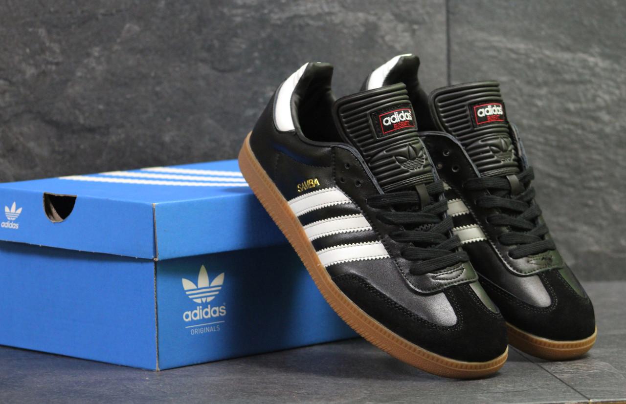 Кеды мужские Adidas Samba молодежные стильные удобные весна-лето-осень (черно-белые), ТОП-реплика