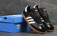 Кеды мужские Adidas Samba молодежные стильные удобные весна-лето-осень (черно-белые), ТОП-реплика, фото 1