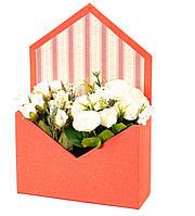 Стильная коробка-конверт для цветов 27х20х7 см (красная)