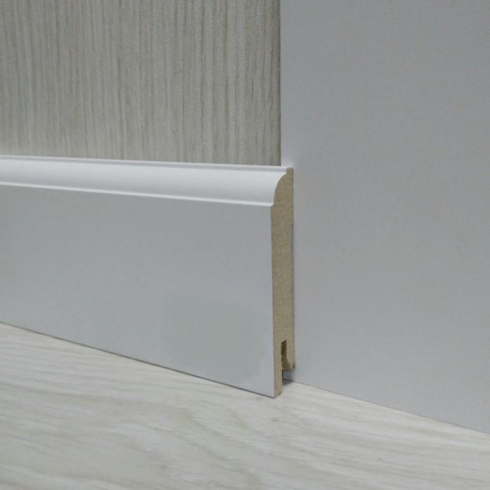 Плинтус МДФ Белый пристенный 14.2х70х2400мм., Pedross Италия