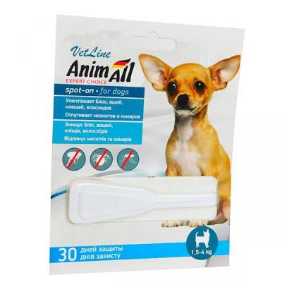 """ANIMALL spot-on """"VetLine"""" ЭНИМАЛ  капли от блох и клещей для собак весом 1,5 - 4 кг, 1 пипетка х 0,8 мл"""